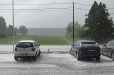 Taking cover from the largest hail storm EVER at a Carrefour about 50km north of the Belgian/Luxembourg border.