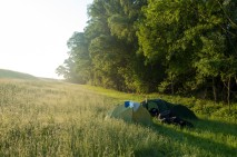 Our first attempt at wild camping in a bush in Slovakia. Accidentally bought fizzy water in the nearest town so the open air shower in the woods was extra special...