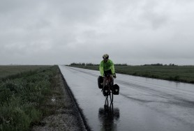 Cycling in a ridiculous stormy headwind in Romania. Only managed about 50km and had to give up.