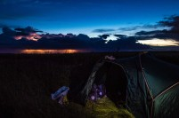 Camping in a Bulgarian field, 50km from the Turkish border, watching the thunder and lightening get ever nearer.