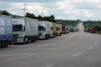 15km queue of trucks at the Turkey/Bulgaria border waiting to get into the EU. They weren't moving much. It must take them months to get through.
