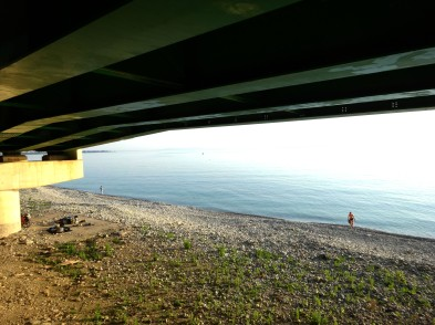 Looking down on our camping spot under the motorway on the Black Sea coast heading from Gerze to Bafra.