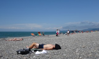 We arranged a couple of rest days in Batumi, Georgia to get our visas for Azerbaijan.On arrival we were told that 3 weeks before they'd decided to stop issuing them in Batumi... so it became a beach session instead. Good tan-lines.