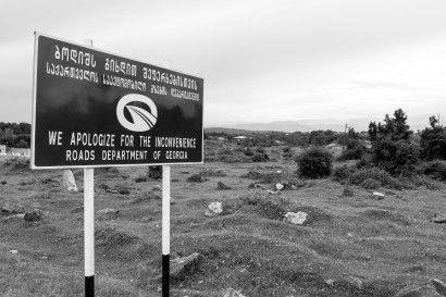 The dreaded sign. When they're warning you in advance you know it's going to be really bad. The road actually turned out to be just finished which makes a change. (heading to Zestafoni, Georgia)