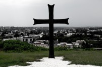 The Cross over Kutaisi from Bagrati Cathedral. There has been an enormous change culturally from Muslim Turkey to Christian Georgia. (Bagrati is a UNESCO World Heritage Site)