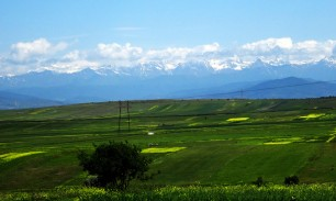 An even better view of the snow topped Caucuses and South Ossetia to the north. (Just outside Gori, Georgia)