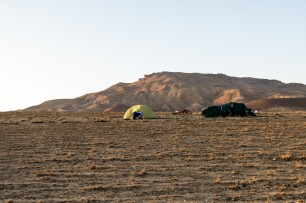 Our first desert camping. Near Shikhzahirli, Azerbaijan.