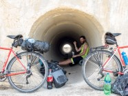 With temperatures up to 40C in the middle of the day it's impossible to stay out in the heat. These culverts under the main road are the only place to find shade.