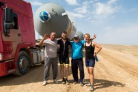 Not long after, our pressure vessel friends caught up with us! They strapped our bikes on one of the lorries and we were off again... until they also couldn't continue.