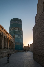 As quiet as a tourist town gets. The streets of Khiva at sunset. Just us and a solitary boy on his bike.