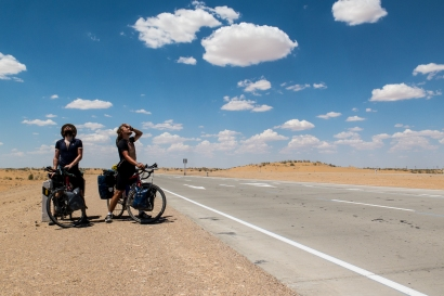 Glistening with sweat. Desert stretch somewhere between Beruni and Bukhara.
