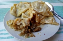 The challenge of fatty Uzbek food. This is Manti. Dumplings filled with lamb and fat.