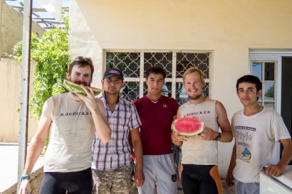 A few students selling watermelons outside their house on the roadside. Watermelons have been a great way to get a sugar kick and rehydrate.