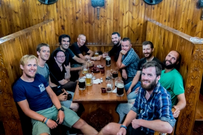 "Beers and banter with a platoon of cycle tourers and other ""overlanders"". From the left: Me (Johan), David (Swiss), Casandra (USA), Patrick (UK Cyclist), Kim (UK Cyclist), Roger (UK), Andy (UK Cyclist), Samuel and Nicola (Liechtenstein), Will."