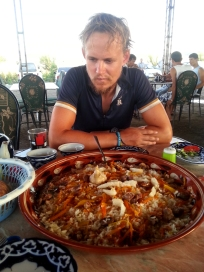 Not only is this obviously a MASSIVE plate of Plov, but it is also seasoned with lots of large pieces of fat! Sheep bum. Mmmmmmm