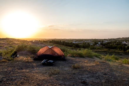 Camping on a little hilltop with a 200km flattish ride ahead of us into Tashkent.
