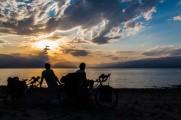 A romo moment camping beside the Toktugul Reservoir, Kyrgyzstan.