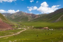 Nomadic families grazing their animals around their yurts at over 3000m. Ala-Bel Pass, Kyrgyzstan.