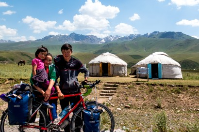 The Great Yurt Valley. This family called us over to have a go on the bikes. The main valley leading to Issyk-Kol, Kyrgyzstan.