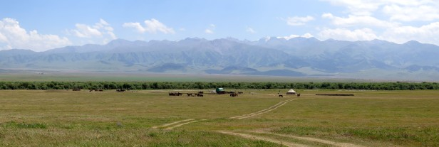 Panoramic needed to try and give some sense of the beauty up here. Karkara valley, Kyrgyzstan.