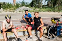 Found a friendly man who showed us to a spring and gave us watermelon to supplement the biscuit breakfast... Near Jinghe, Xinjiang, China.