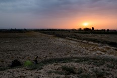 Our first Eastern sunset. It's pretty desolate out here in Western Xinjiang.