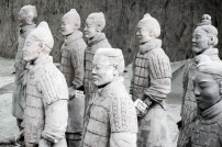 The incredible detail of a few of the thousands of Terracotta Warriors. One of the most incredible windows into the ancient world. Xian, China.