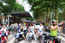 2 Wheelers rule the roads here so we feel definitely feel like we have safety in numbers. Rush-hour in Luoyang, Henan, China.