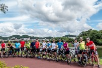 What a turnout! 15 of us for the ride down to Jinha beach and Busan. For some people, the furthest they've ever cycled - what an amazing effort. [Simon, me, Muhamed, Alan, Steve, Dave, Mick, Danny, Ben, Colin, Mark, Joy, Nick, Will, Antony] Cycle path along the river out of Ulsan, South Korea.