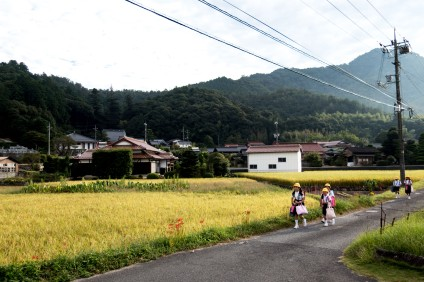 Everything is so orderly here. Kids walking contentedly to school in their pairs. Near Yamaguchi, Japan