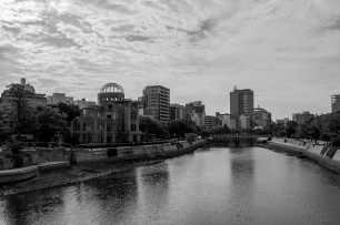 The Atomic Bomb Dome. One of the few things still standing as it was directly under the blast. Hard to describe the feeling of being here and the thoughts that go through one's head. Hiroshima, Japan