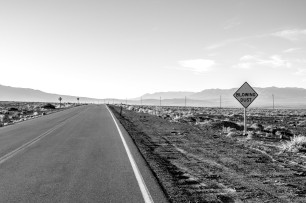 The sign says it all. Heading for Panamint Springs, CA, USA
