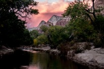 Camping on the Virgin river in Zion. Not a bad sunset... Zion Canyon, UT, USA
