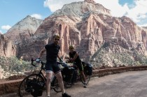 Dozens of switchbacks/hairpin bends to climb up and out of the canyon to the east. Worth all the climbing to look back across the canyon. Zion, UT, USA