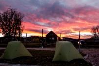 Up at 2200m elevation, the cold air produced some spectacular colours at sunset. Camping at an RV park in Hatch, UT, USA