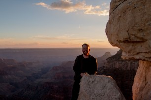 A happy man. Bright Angel Point, North Rim Grand Canyon, AZ, USA