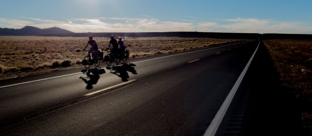 Racing to reach the next store to refuel before the sun disappears. Really tough day into an arduous headwind. Red Mesa, AZ, USA