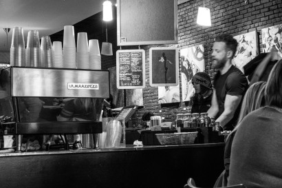 Feeling at home around the La Marzocco. Great to be able to get good coffee again. Austin, TX, USA